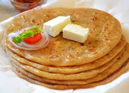 Dipped in Desi ghee with makkhan and lassi is this Yummy aaloo paratha for breakfast :)