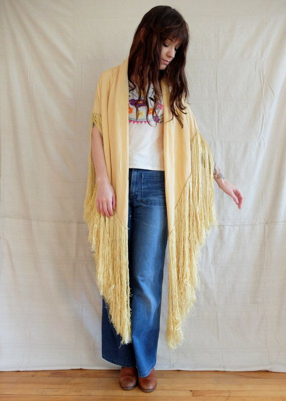 antique 1900s pale yellow fringe piano shawl by SweeetLeafVintage
