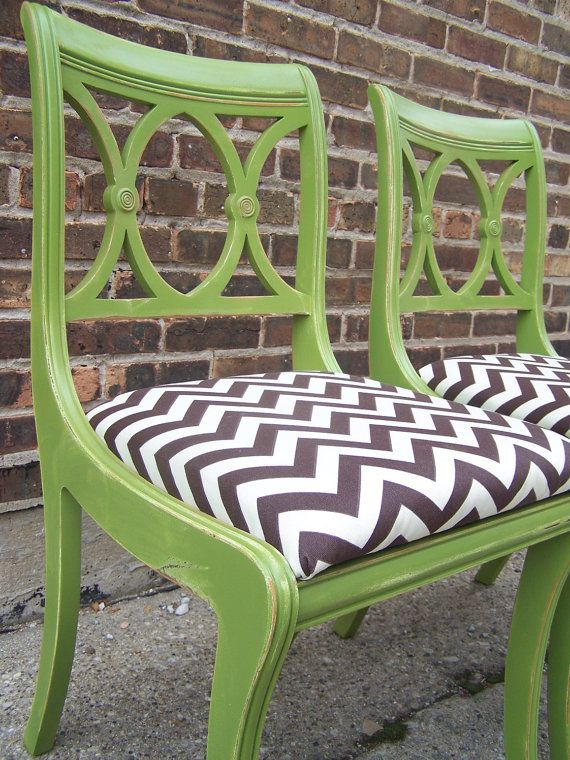 Eclectic chairs- traditional chairs painted green & given new chevron chair fabric.  Vintage with a modern twist.