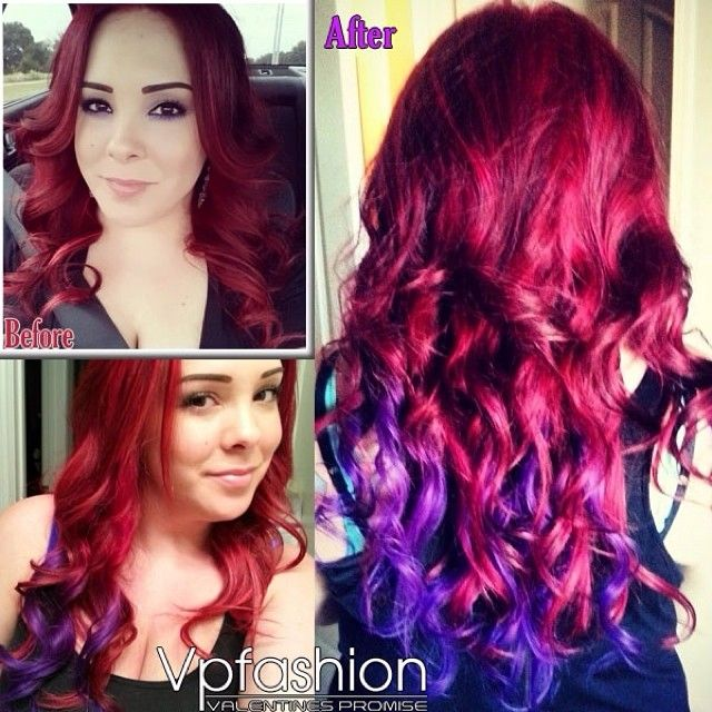 The Hottest Hair Dye Colors and Ideas Inspired by Vpfashion Beauties red hair extensions, purple hair extensions red purple colorful wavy hair extensions