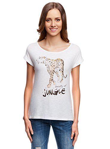 T-shirt da donna con stampa e maniche corte. Lunga e aderente, più corta sul davanti. Scollo ampio e basso con un bordo, maniche con un piccolo risvolto.