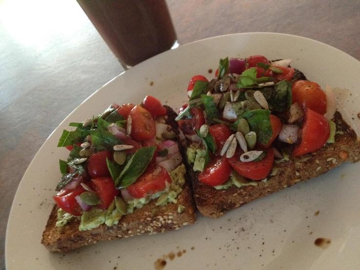 Brushetta on Rye Toast (topped with avocado, tomato, red onion, sweet basil, pepitas, sunflower seeds and balsamic vinegar!!!!