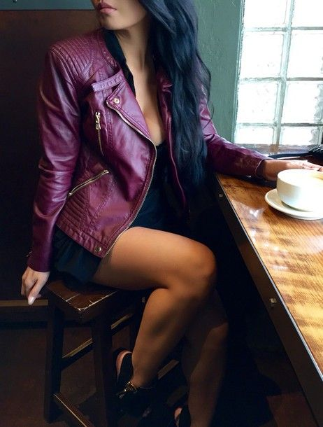 jacket coat burgundy skirt burgundy clothes top style t-shirt sweater fall outfits fall sweater winter jacket winter boots black bikini black boots girlygirl girly shirt skirt instagram tumblr outfit preppy leather jacket