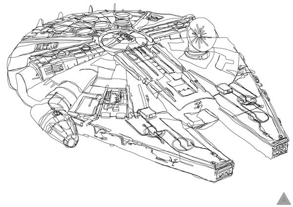 Star Wars Continuous Line Drawings.  I've tried doing drawings like this, but these are awesome!