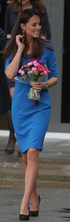 Kate Middleton: Dress – LK Bennett  Necklace – Mappin & Webb Fortune  Watch – Cartier  Earrings – Kiki McDonough  Ring – Tiffancy & Co.