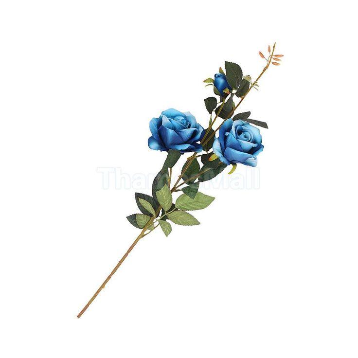 Artificial Rose Faux Silk Foral Wedding Home Flower Arrangement Decor Blue