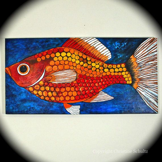 Painted fish on canvas