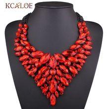 Éclat de luxe Rouge Cristal Coloré Strass Collier Noir Chaîne Bib Choker Déclaration Colliers Pendentifs bijoux De Mariage(China (Mainland))