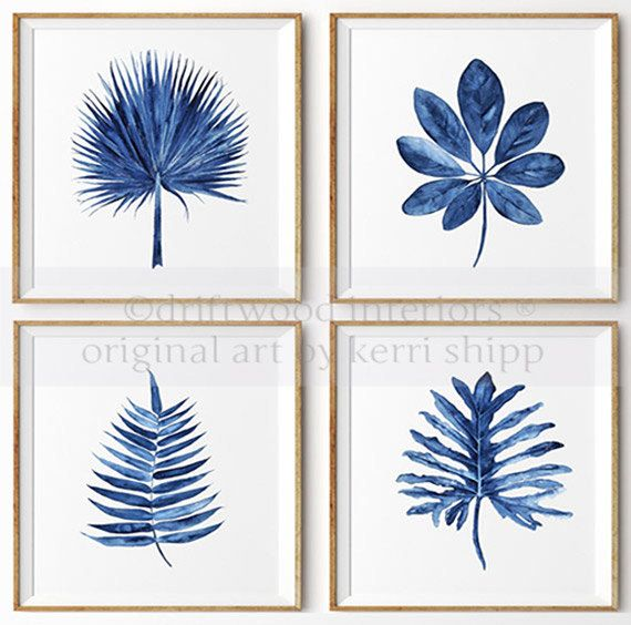 Tropical Leaf II Watercolor Print in Denim Blue 11×14 – Watercolor Art Print – Tropical Wall Art