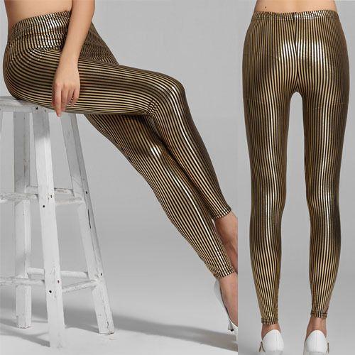 Secretary Vertical Gold Stripes Metallic Spandex Leggings