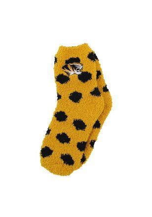 Missouri Tigers Polka Dot Fuzzy Womens Quarter Socks