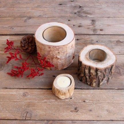 Porta velas con forma de tronquitos - Set de 3 ud #vela #portavela