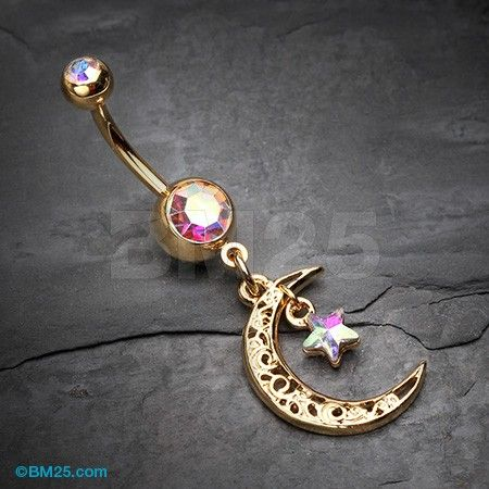 Golden Crescent Filigree Moon Star Sparkle Belly Button Ring