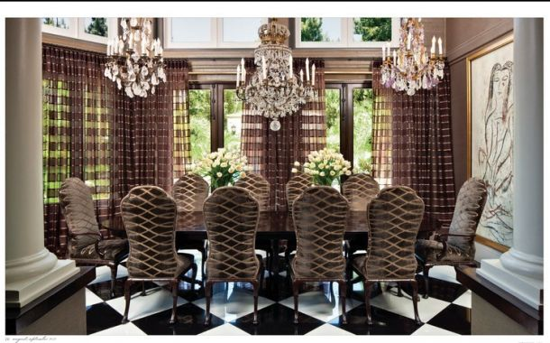 Celebrity decor inside bruce and kris jenner s old for Glam dining room ideas