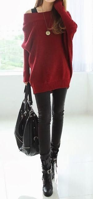 #street #style / red off the shoulder knit