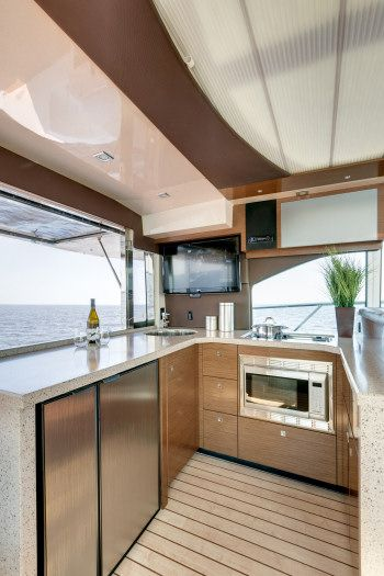 Cruisers Yachts 45 Cantius: The aft counter in the galley can double as a bar for serving guests in the cockpit.