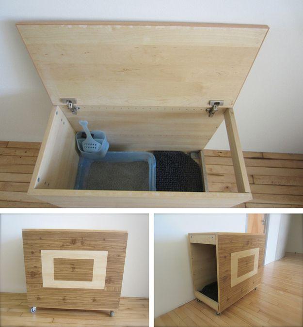 20 superbes idées pour cacher la litière de votre chat !                                                                                                                                                                                 Plus