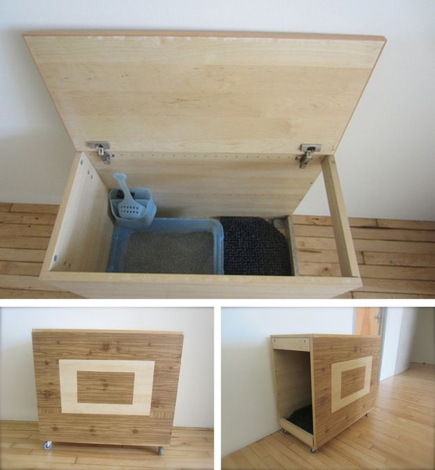 DIY Modern Litter Box Hider | 27 Useful DIY Solutions For Hiding The Litter Box
