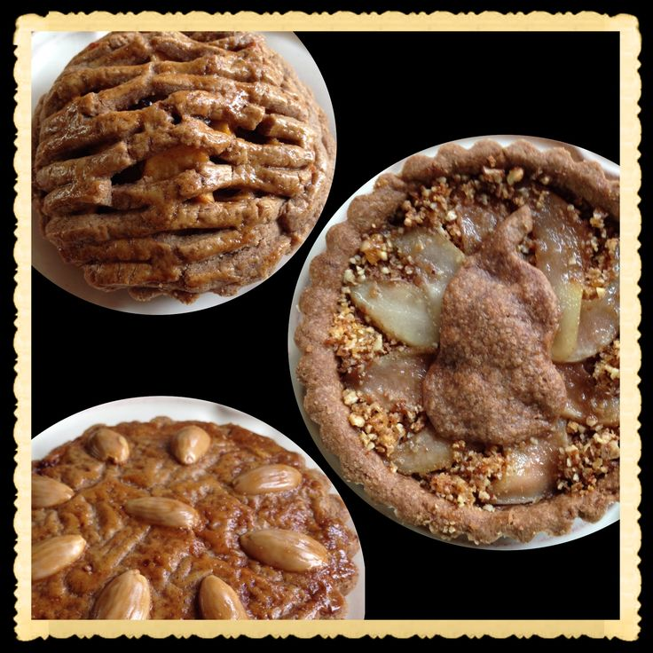 Spiced applepie dough with poached pear, applepie mixture and almondspice fillings
