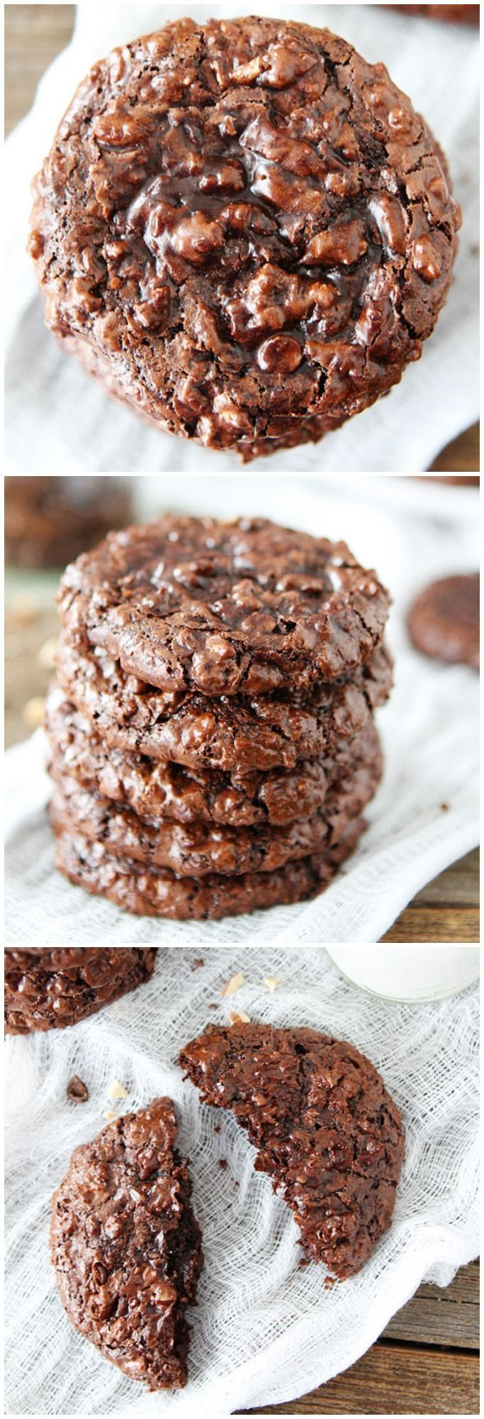 Flourless Chocolate Cookie Recipe on twopeasandtheirpo... The BEST chocolate cookies you will ever eat!