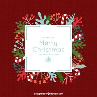 복고 스타일에 자연 요소와 함께 메리 크리스마스 인사말 카드