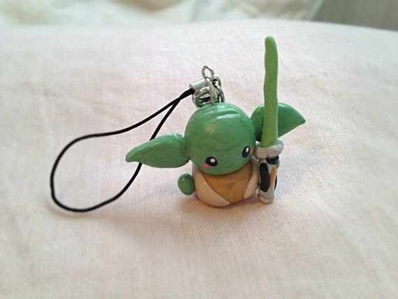Handmade Polymer Clay Yoda Cell Phone Strap by TheDorkerie on Etsy,