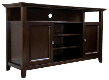 Amherst 54 inches wide x 32 inches high Tall TV Stand in Dark American Brown - transitional - Media Storage - CCT Global Sourcing Inc