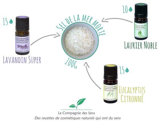 Calmer vos rhumatismes grâce à ce bain aux 4 ingrédients !  - 15 gouttes d'huile essentielle d'Eucalyptus Citronné   - 15 gouttes d'huile essentielle de Lavindin Super   - 10 gouttes d'huile essentielle de Laurier Noble   - 100 g de sel de la Mer Morte