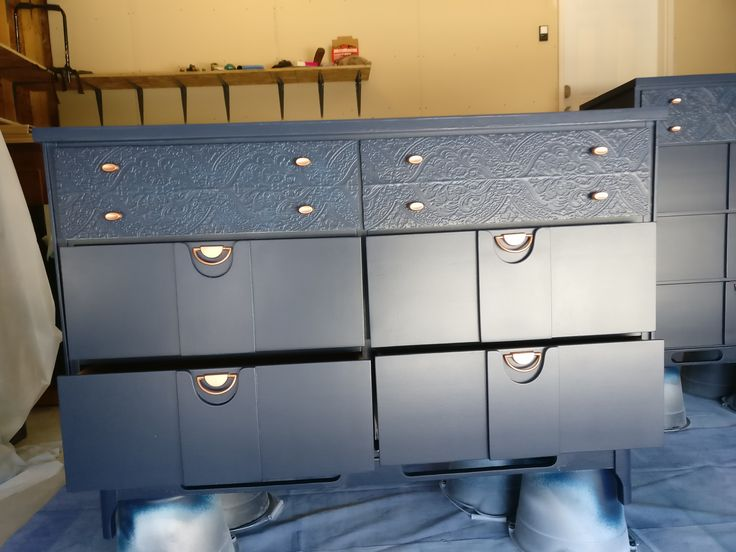 Navy blue painted with paper.