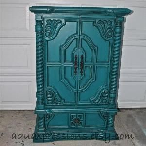 Vintage Armoire /Valspar Gypsy Teal / Bedroom Furniture/ by AquaXpressions, $499.00 by gabrielle