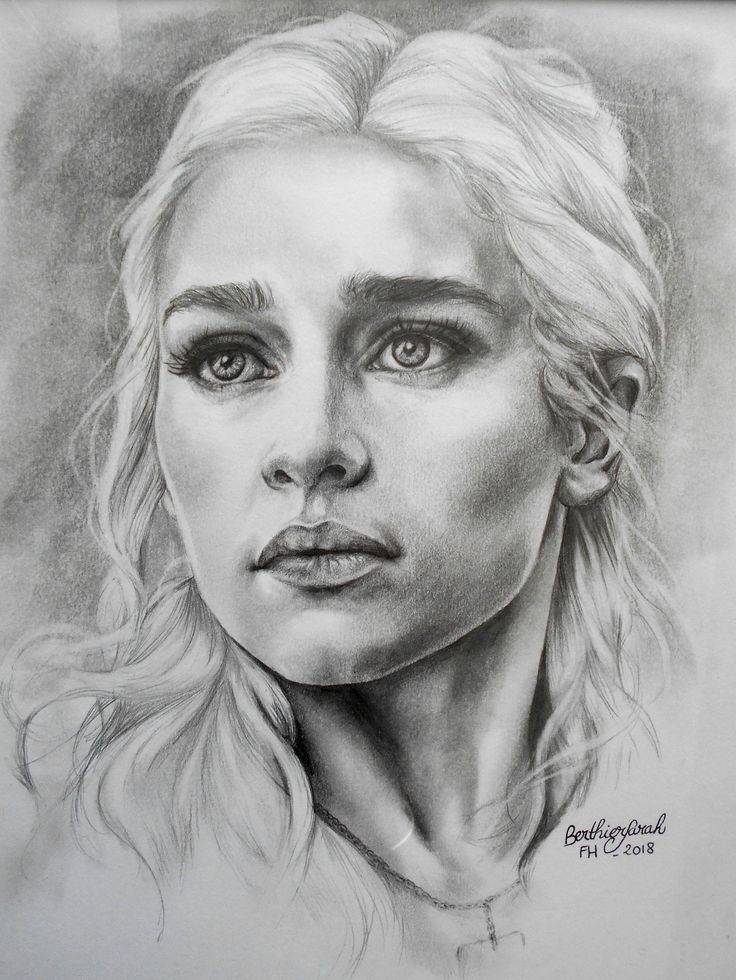 Drawing Daenerys Targaryen – Game of thrones – Mother of dragons – Black and white – Sold with frame and under glass – Portrait Emilia Clarke –