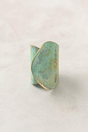 Anthropologie Aged Leaf Ring