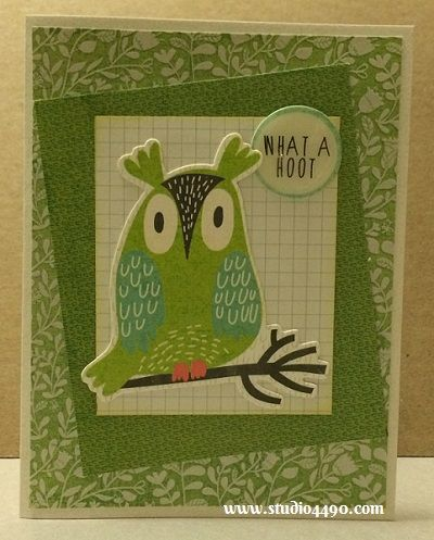 """What a Hoot Materials used: Die Cuts - Hello Sunshine (KAISERCraft); Designer Paper - 6-1/2"""" Paper Pad - Hello Sunshine (KAISERCraft); Cardstock (Unknown); Distress Ink and Glossy Accents (Ranger)."""