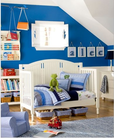 Another pinner said: I have the same paint in my son's room. I used Cool Cobalt by Glidden at Home Depot, $26/gallon--paint and primer duo! Dries in an hour. Very nice quality result.