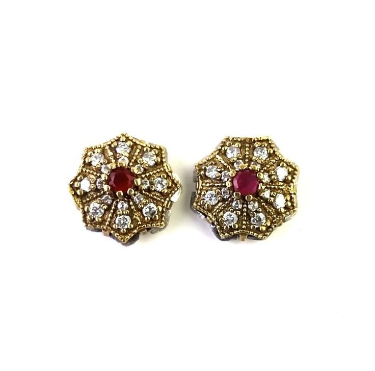 TURKISH OTTOMAN STERLING SILVER 925 LAB CREATED RUBY EARRING STUD  TOPS  #Stud