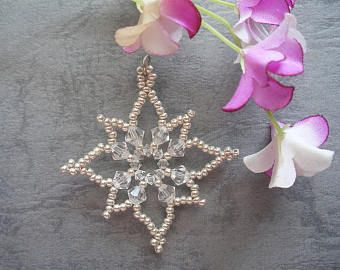 Beaded Snowflake Tutorial Pattern - Sparkle Starry Snow Flake Pendant (XM024) - Beading Christmas PDF Tutorial (Instant Download)
