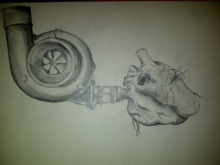 Human Heart And Turbo Tattoo Stencil