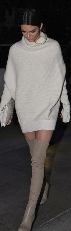 Kendall Jenner, tan thigh high boots and white turtleneck sweater dress: