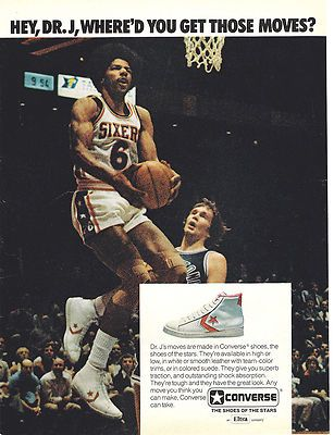 197 Converse Basketball Shoes Julius Erving aka Dr J Philadelphia 76ers Print Ad | eBay