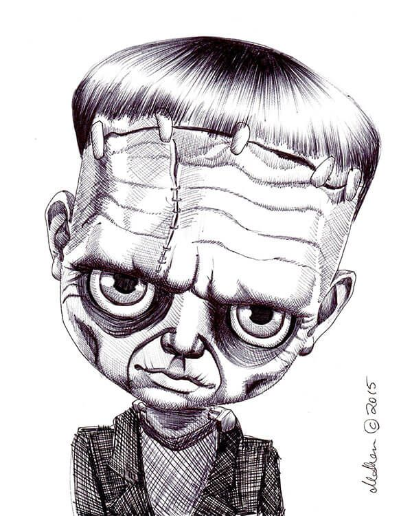 Frankenstein Fox And Doll Baby Horror Drawing Horror Art Blank Coloring Pages