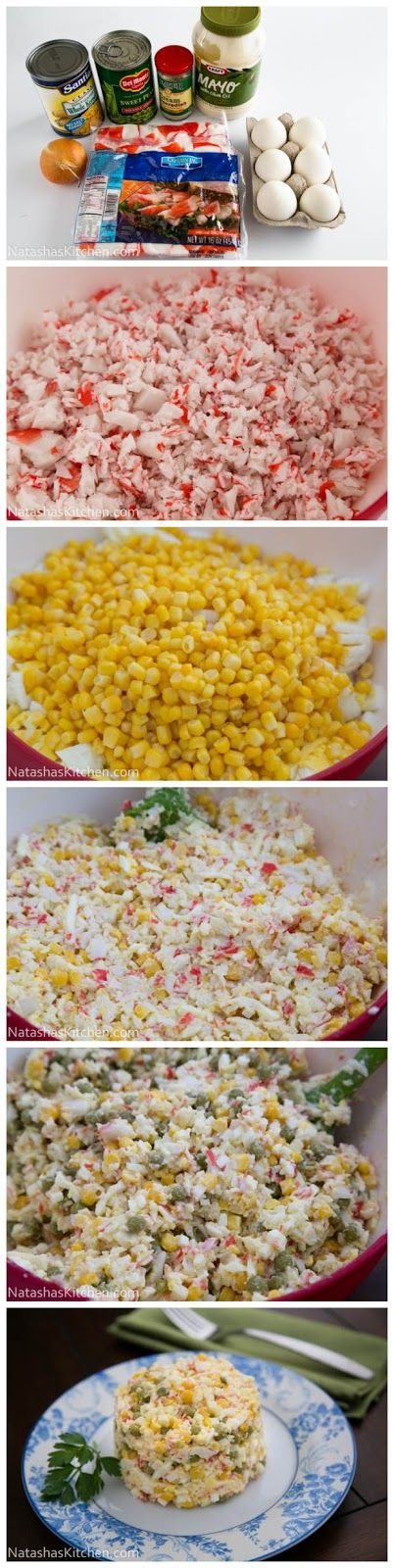 I love this salad! We make it exactly the same except we use the imitation crab meat sticks. All you do is hold it between your hands a...
