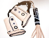 Native American Moccasin ORNAMENT and KEY CHAIN Set Leather Beadwork White Black Silver Buckskin Christmas Stocking Stuffer Gift