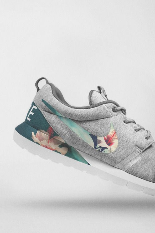 Heathered melange jersey covered shoe with tropical printed swoosh and inlay… hot