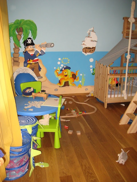 son's pirate room with wall painting
