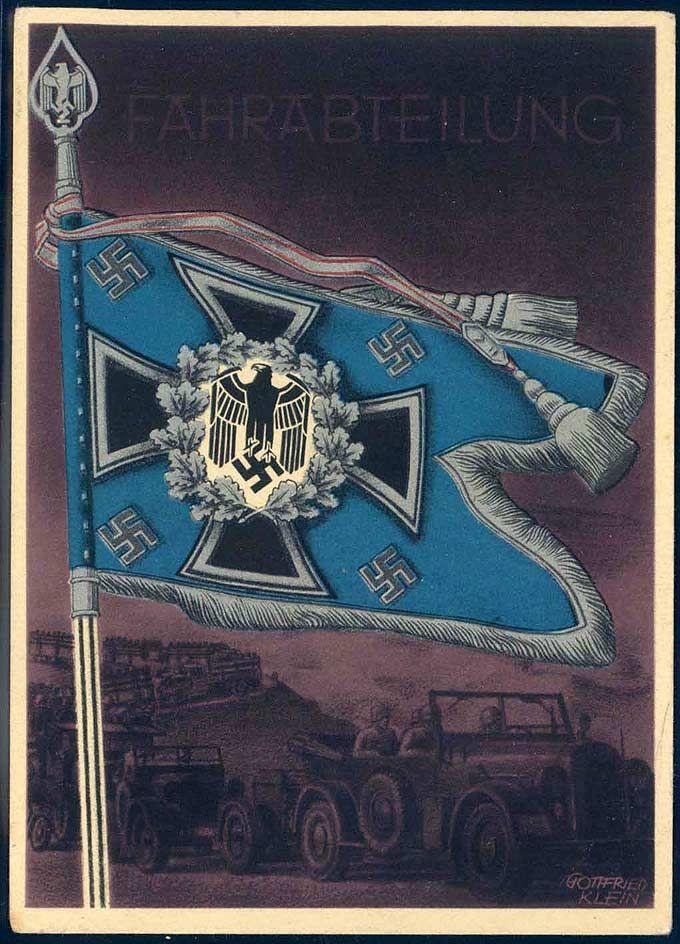 """""""Fahrabteilung"""" Künstlerpostkarte Nr. 14, signiert Gottfried Klein, aus der Serie """"Die siegreichen Fahnen und Standarten der deutschen Wehrmacht"""""""