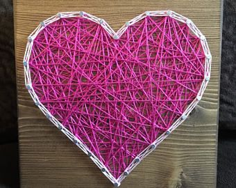 CUSTOM Heart String Art, Love and Romance, Gallery Wall, Wedding, Anniversary Gift, Valentine's Day, gift for her