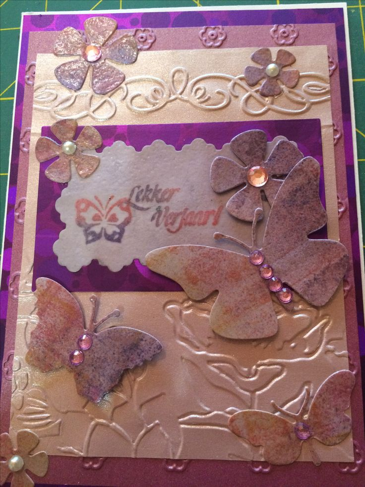 Happy Birthday card - pink & purple ink embossed butterflies