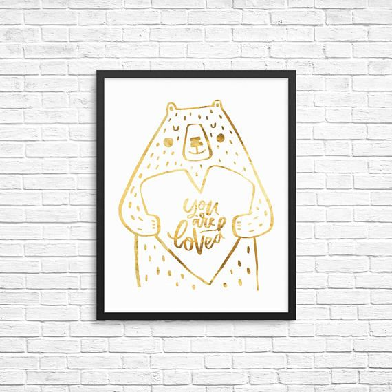 Woodland Nursery Decor - You Are Loved Print - Woodland Animals Nursery - Real Foil Print - Wall Art - Inspirational Print - Gold Nursery