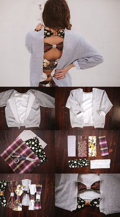 Cool idea! Except I wouldn't cut the back off, just sew bows on the back of a jumper.