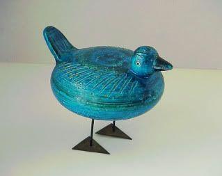 Bitossi Rimini blue duck, designed by Aldo Londi, imported by Raymor
